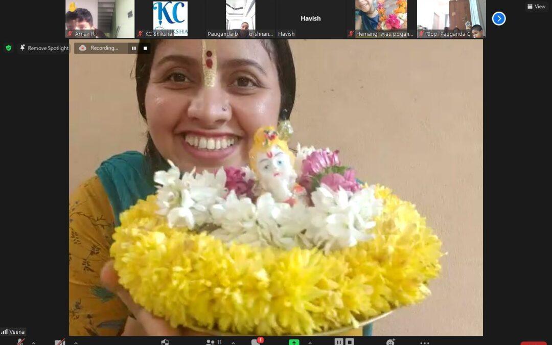 KCShiksha Garland making classes enthrals the students